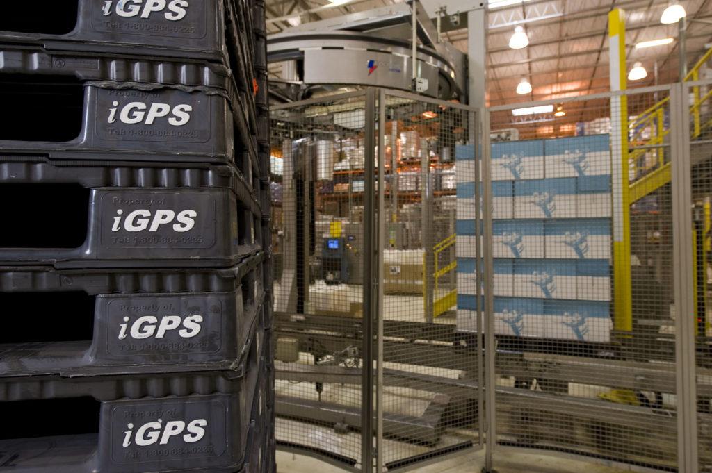 Plastic pallets at a distribution center
