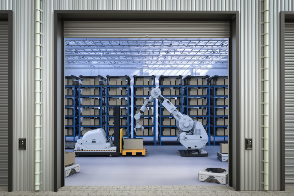 A futuristic warehouse is entirely robotic.