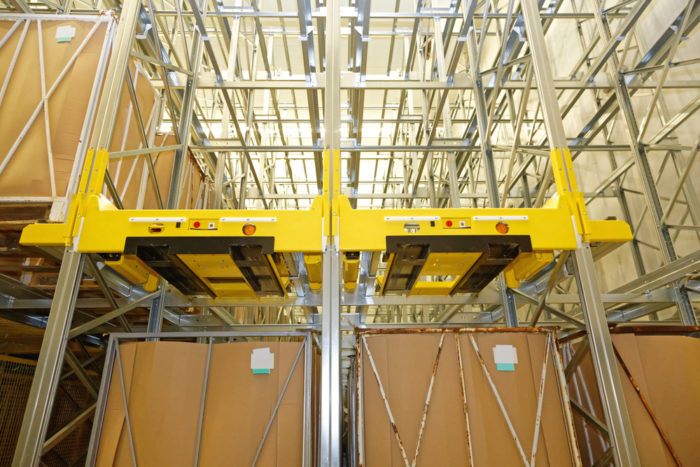 Pallet racks in a pharmaceutical warehouse
