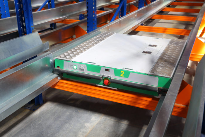 A pallet shuttle is often used in deep lane high density storage