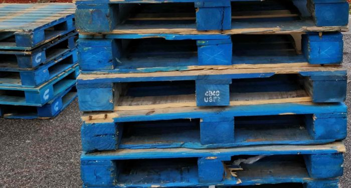 Wood block pallets are easily damaged.