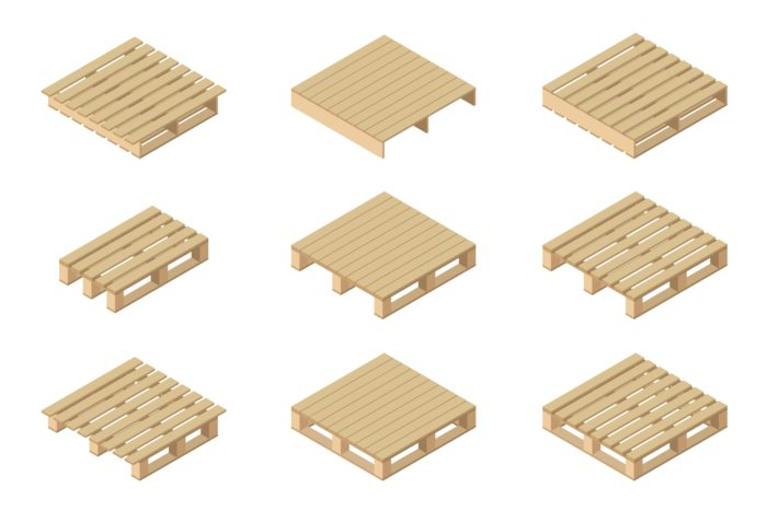 Different styles of 4-way and 2-way pallets.