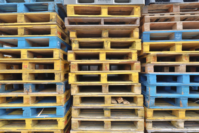 Wood is the most common material for pallets
