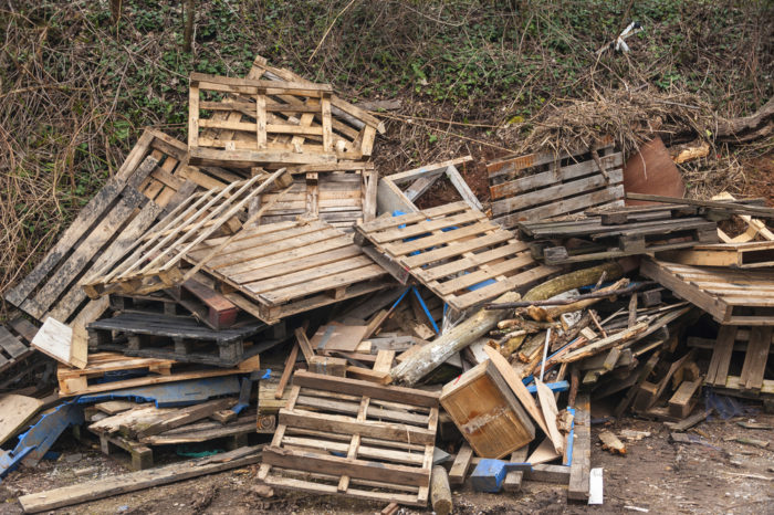 Wood pallets disposed of in a landfill