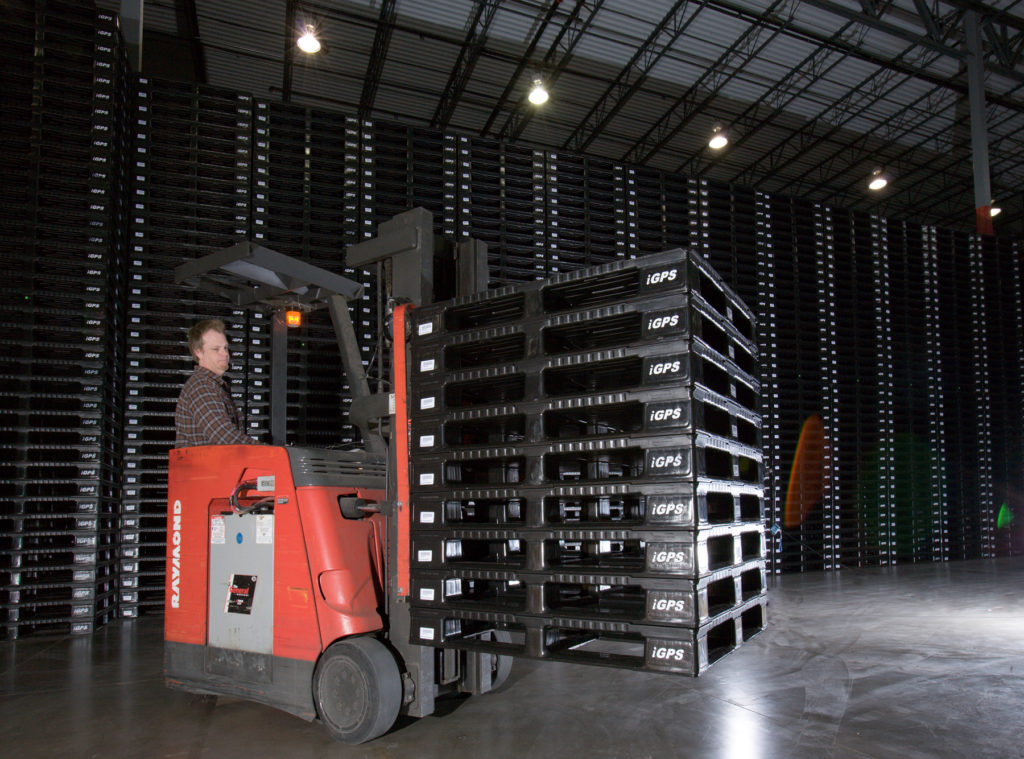 Black plastic pallets are usually made of recycled material.