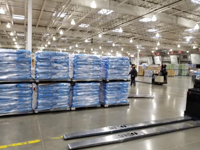Stacks of loaded pallets in the warehouse