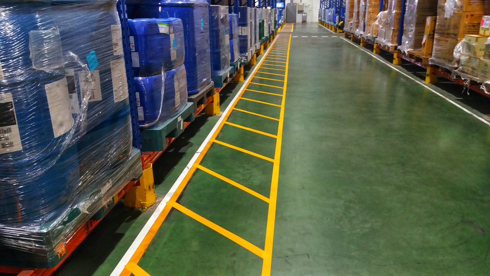 Yellow marking shows 5s in warehouse operations