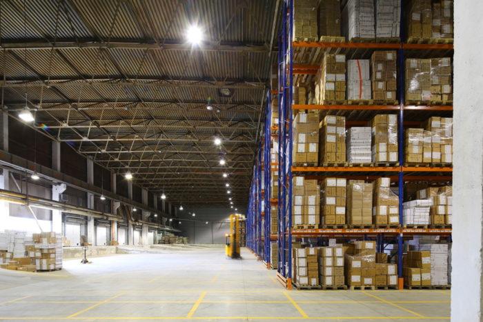 Warehouse stacked shelving